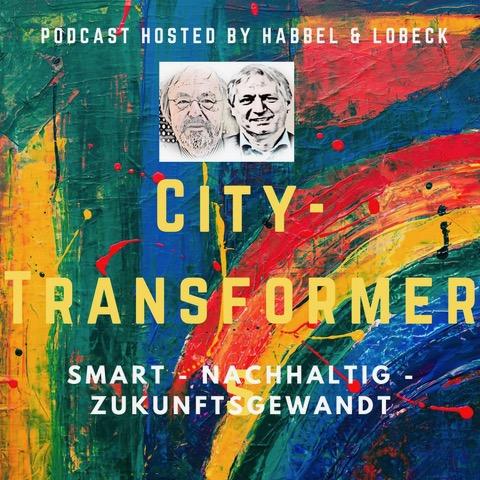 Titelbild des Podcasts City-Transformers mit den skizzierten Köpfen von Franz-Reinhard Habbel und Michael Lobeck